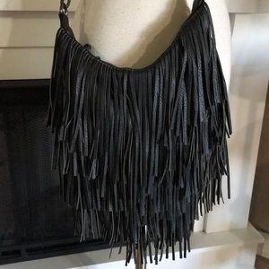 Steve Madden Bmocha Black Fringed Crossbody Bag